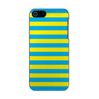 Blauwe en Gele Horizontale Strepen Incipio Feather® Shine iPhone 5 Hoesje
