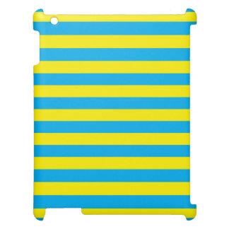 Blauwe en Gele Horizontale Strepen iPad Cases