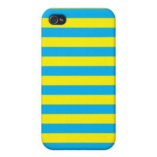 Blauwe en Gele Horizontale Strepen iPhone 4/4S Case