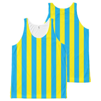 Blauwe en Gele Verticale Strepen All-Over-Print Tank Top