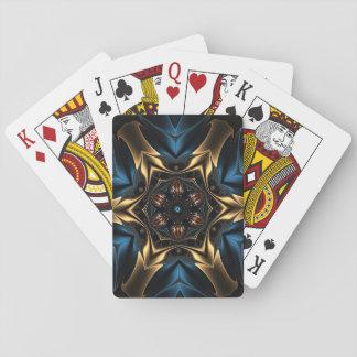 Blauwe en gouden caleidoscoopdruk op speelkaarten