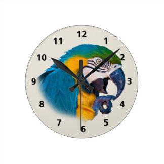 Blauwe en Gouden Klantgerichte Papegaai Ronde Klok