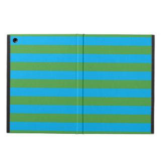 Blauwe en Groene Horizontale Strepen iPad Air Hoesje
