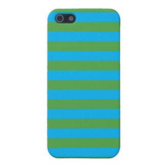 Blauwe en Groene Horizontale Strepen iPhone 5 Case