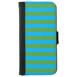 Blauwe en Groene Horizontale Strepen iPhone 6 Portemonneehoesje