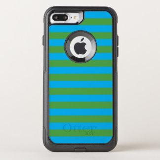 Blauwe en Groene Horizontale Strepen OtterBox Commuter iPhone 7 Plus Hoesje