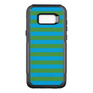 Blauwe en Groene Horizontale Strepen OtterBox Commuter Samsung Galaxy S8+ Hoesje