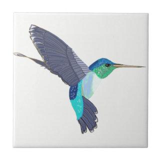Blauwe en Groene Zoemende Vogel Keramisch Tegeltje