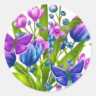 Blauwe en Paarse BloemenSticker met Vlinders Ronde Sticker