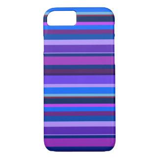 Blauwe en paarse horizontale strepen iPhone 7 hoesje