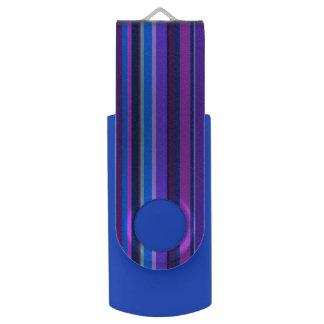 Blauwe en paarse verticale strepen swivel USB 2.0 stick