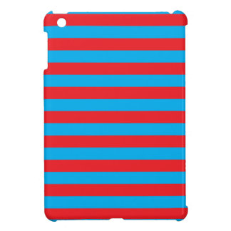 Blauwe en Rode Horizontale Strepen iPad Mini Case
