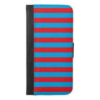 Blauwe en Rode Horizontale Strepen iPhone 6/6s Plus Portemonnee Hoesje