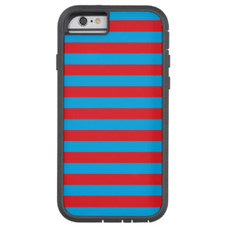 Blauwe en Rode Horizontale Strepen Tough Xtreme iPhone 6 Hoesje