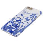 Blauwe en Witte Abstracte Bloemen iPhone 6 Plus Barely There Hoesje