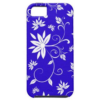Blauwe en Witte Bloemen Tough iPhone 5 Hoesje