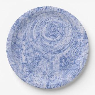 Blauwe en Witte Cirkels Papieren Bordje
