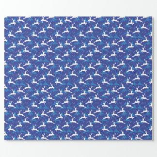 Blauwe en Witte het Springen van Kerstmis Herten Inpakpapier