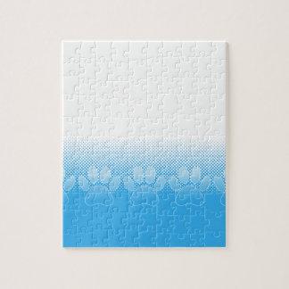 Blauwe en Witte Poten met de Achtergrond van het Puzzel
