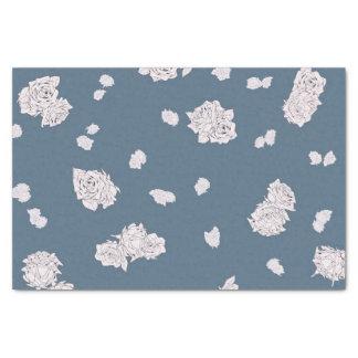 Blauwe en Witte Rozen Tissuepapier
