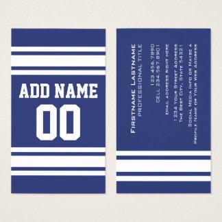 Blauwe en Witte Strepen met Naam en Aantal Visitekaartjes