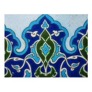Blauwe en witte tegel vintage Ottoaman Briefkaart
