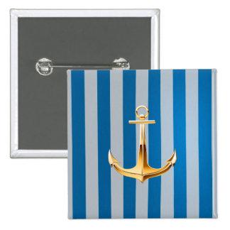 Blauwe en Witte Verticale Lijnen en Gouden Anker Vierkante Button 5,1 Cm