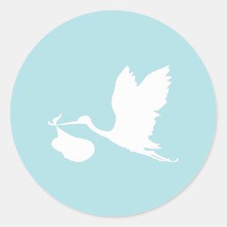 Blauwe en Witte Vliegende Ooievaar Ronde Stickers