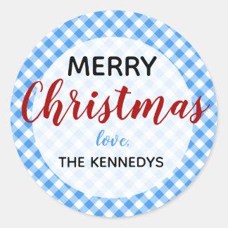 Blauwe en Witte Vrolijke Kerstmis van de Gingang Ronde Sticker