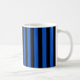 Blauwe en zwarte moderne strepen -, geometrisch koffiemok