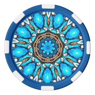 Blauwe Fractal van de Gem Pokerchips