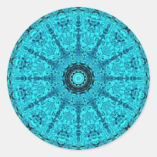 Blauwe gedetailleerde mandala ronde sticker