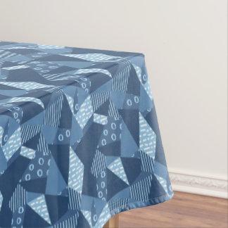 Blauwe gekke het lapwerk geometrische vormen van tafelloper