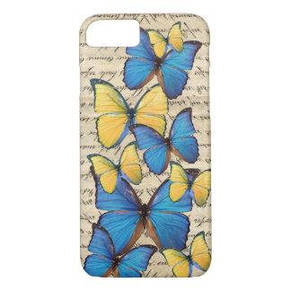 Blauwe & gele butterrflies iPhone 7 hoesje