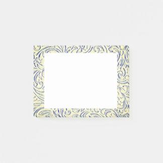 Blauwe Gele Vintage Bloemen Grafische Scrollwork Post-it® Notes