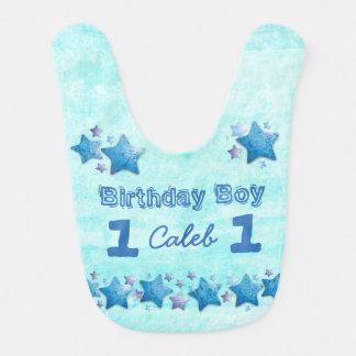 Blauwe Gepersonaliseerde Groot van het eerste Baby Slabbetje