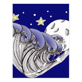 Blauwe Golven en Volle maan Briefkaart