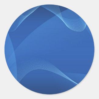 Blauwe Golven Ronde Sticker