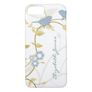 Blauwe Gouden Witte Gepersonaliseerd Bloemen van iPhone 8/7 Hoesje