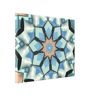 Blauwe Grijze Bellende Klokken Mandala Canvas Afdruk