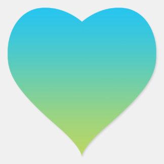 Blauwe & Groene Ombre Hart Sticker