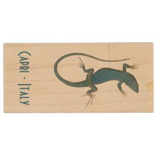 Blauwe hagedis, geko - Capri - Faraglioni Houten USB Stick