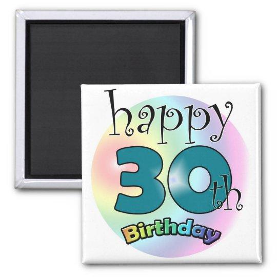 Blauwe Happy 30th Birthday Magneet