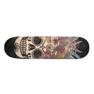 blauwe hippieschedel, skateboard deck