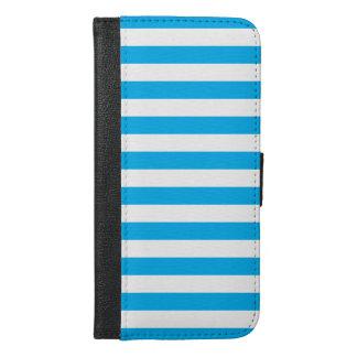 Blauwe Horizontale Strepen iPhone 6/6s Plus Portemonnee Hoesje