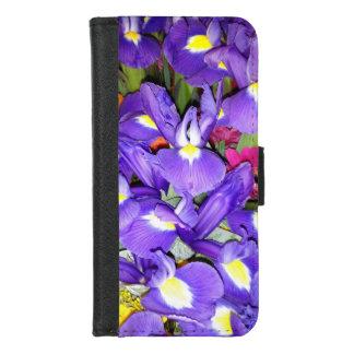 Blauwe Irissen en Rode Bloemen Gerbera iPhone 8/7 Portemonnee Hoesje