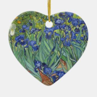 Blauwe Irissen Keramisch Hart Ornament