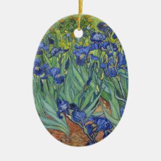 Blauwe Irissen Keramisch Ovaal Ornament