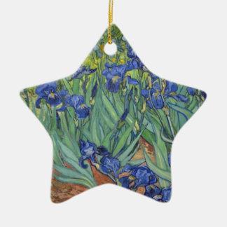 Blauwe Irissen Keramisch Ster Ornament