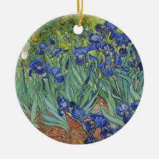 Blauwe Irissen Rond Keramisch Ornament